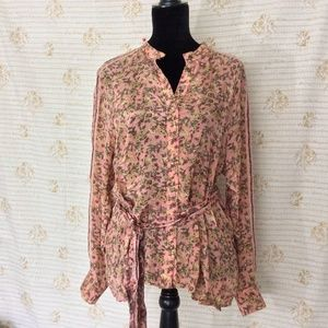 NWT Free People Floral Blouse